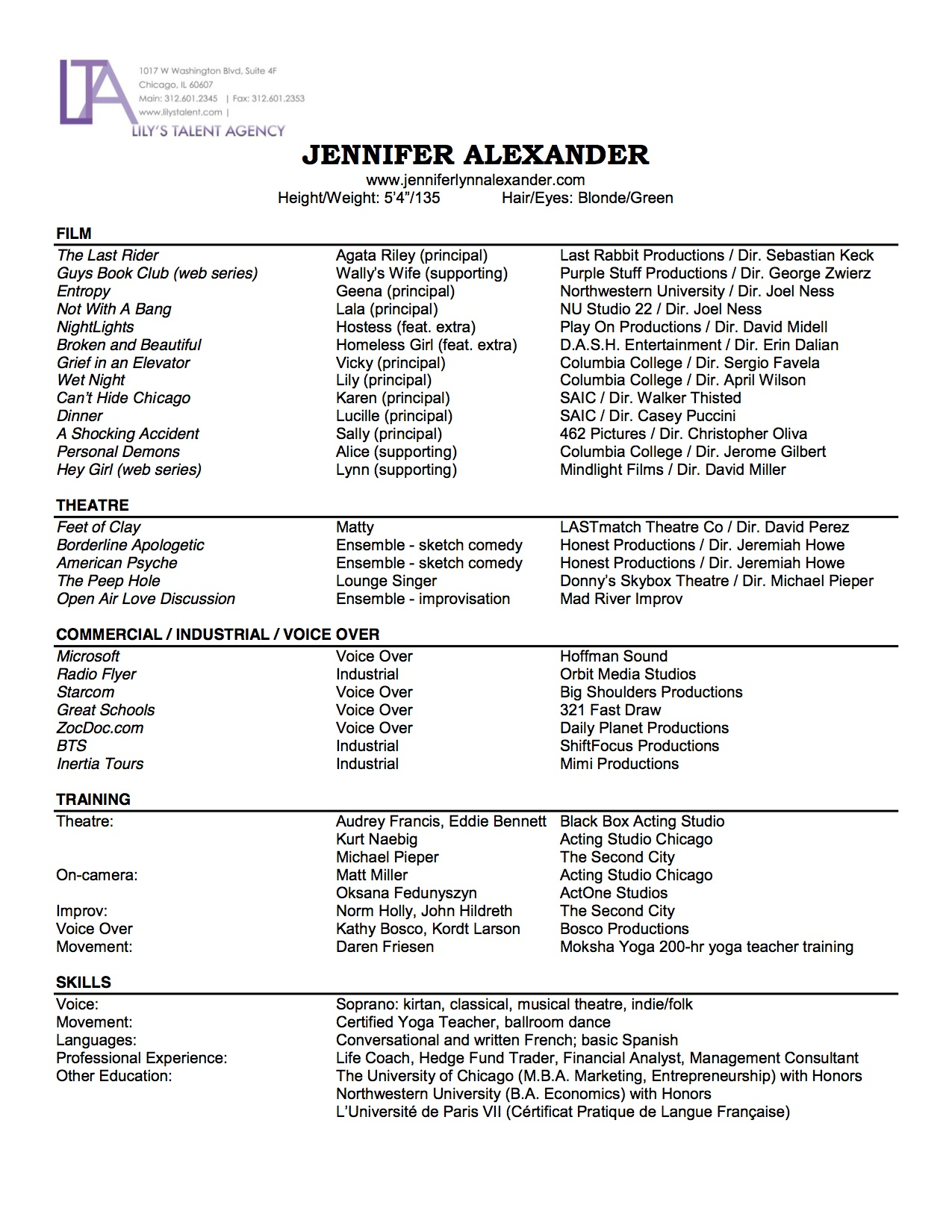 Resume Jennifer Alexander Actress Voice Artist